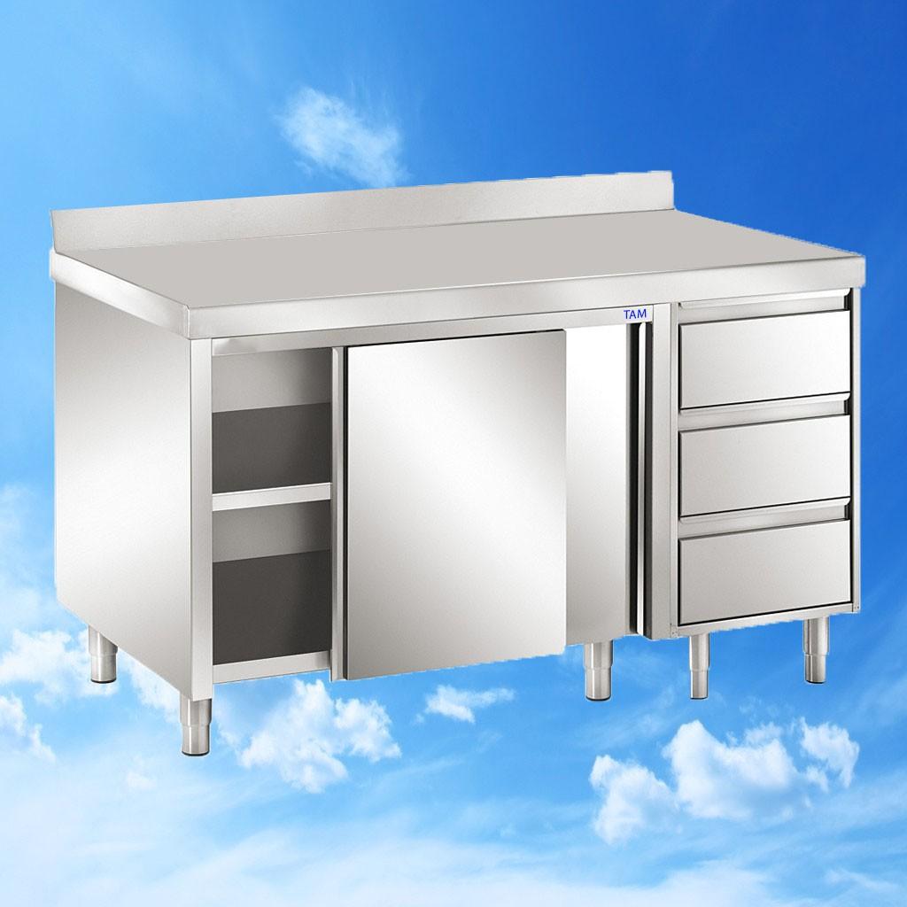 Arbeitsschrank mit Schiebetüren und Schubladenblock und Aufkantung 2200x700x850 TAM-ATSS227A