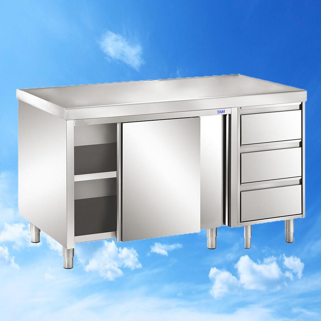 Arbeitsschrank mit Flügeltüren und Schubladenblock 1000x700x850 TAM-ATSS107