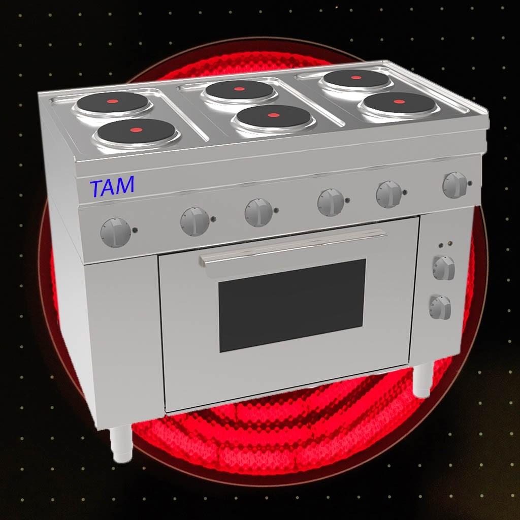 6 flammen elektroherd mit elektro backofen tam sebe105. Black Bedroom Furniture Sets. Home Design Ideas
