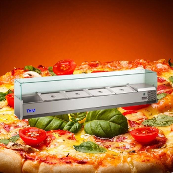 Pizzakühlaufsatz mit Glasaufsatz 1600x335x430 TAM-PKAG1614