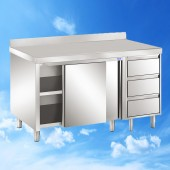 Arbeitsschrank mit Schiebetüren und Schubladenblock und Aufkantung 2100x700x850 TAM-ATSS217A