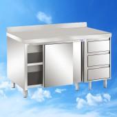 Arbeitsschrank mit Schiebetüren und Schubladenblock und Aufkantung 1600x700x850 TAM-ATSS167A