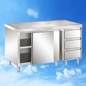 Arbeitsschrank mit Schiebetüren und Schubladenblock 1600x700x850 TAM-ATSS167