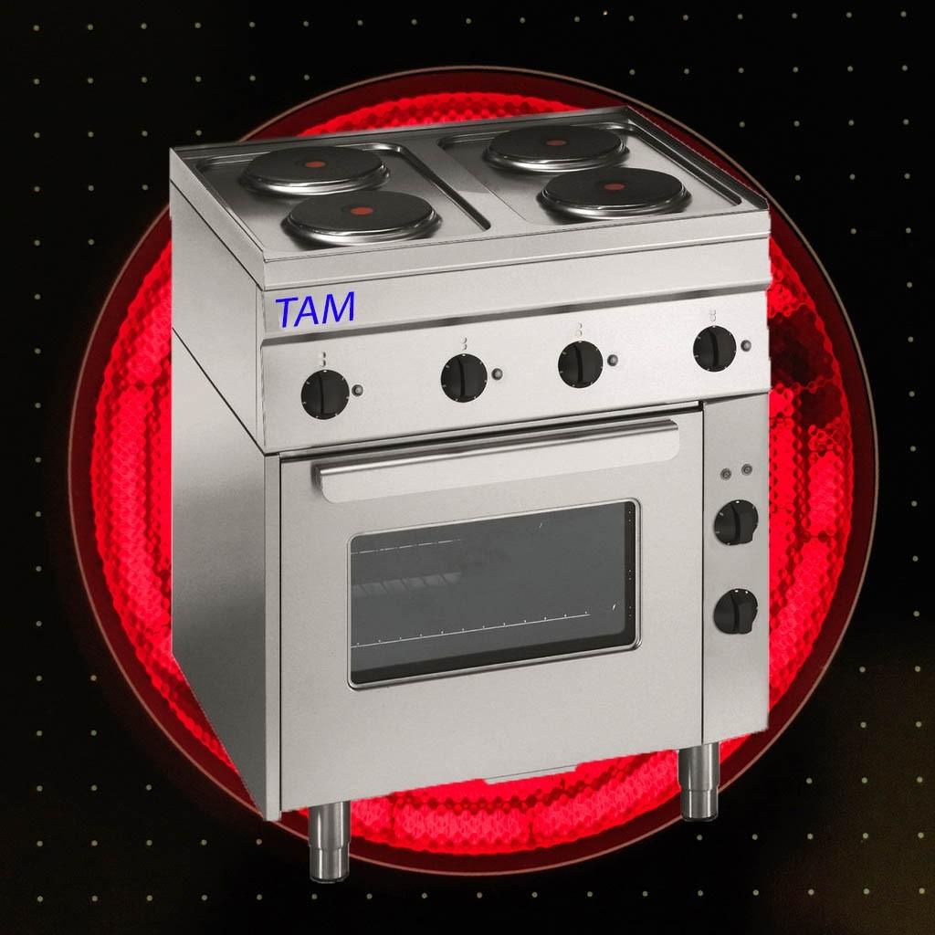 4 Platten Elektroherd mit Elektro Backofen TAM-SEBE70