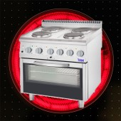 Premium 4 Flammen Elektroherd mit Umluft Backofen TAM-E4BU