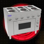6 Platten Elektroherd mit Elektro Backofen TAM-SEBE105