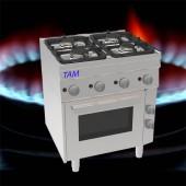 4 Flammen Gasherd mit Elektro Backofen TAM-SGBE70