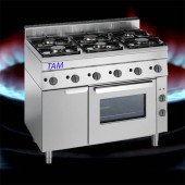 6 Flammen Gasherd mit Elektro Backofen TAM-SGBE1050